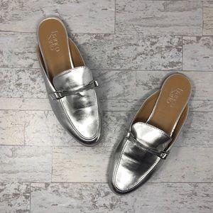 NWOB Franco Sarto Pippa Metallic Silver Mules